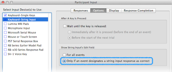 Using Keyboard's String Input and Single Keys In The Same Experiment